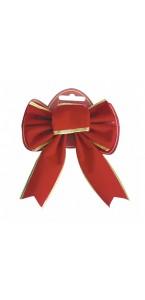 Nœud de Noël velours rouge pailleté or 19 x 22 cm