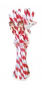 Lot de 10 pailles vintage Circus rouges et blanches