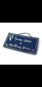 Pancarte Marine floqué or Bonne Année 47 x 26 cm