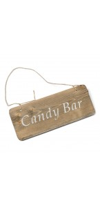 Pancarte bois Candy Bar 25 x 10 cm