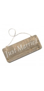 Pancarte bois Just Married 25 x 10 cm