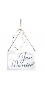 Pancarte en bois Just married à suspendre 25 x 17 cm