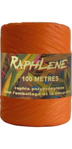 Pelote de raphia orange 100 m