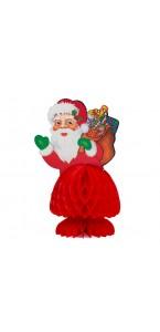 Père Noël en papier alvéolé rouge PM 15 cm