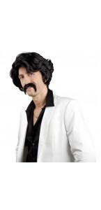 Perruque années 70 avec moustache Chuck noire