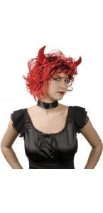 Perruque bouclée de diable pour femme rouge