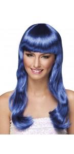 Perruque cheveux longs Chique pour femme bleu
