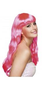 Perruque cheveux longs Chique pour femme rose