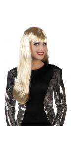 Perruque cheveux longs Glamour blond à mèches argentées