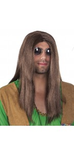 Perruque cheveux longs hippie pour homme