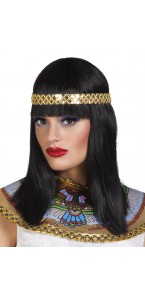 Perruque Cléopâtre avec bandeau