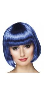 Perruque courte cabaret pour femme bleue