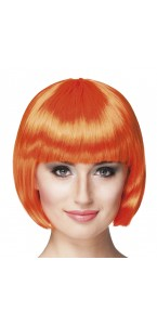 Perruque courte cabaret pour femme orange
