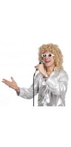 Perruque de chanteur bouclée avec lunette pour homme blonde