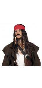 Perruque de pirate luxe noire