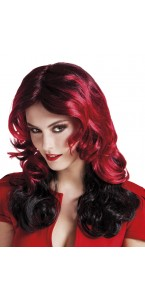 Perruque Halloween rouge intense
