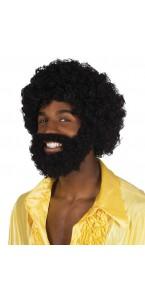 Perruque Rufus noire avec barbe et moustache