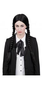 Perruque secrète noire  Halloween