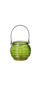 Photophore rond en verre vert avec anse