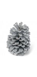 Pomme de pin argent pailleté 12 cm