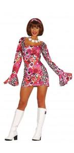 Robe psychedelique disco fleurie femme