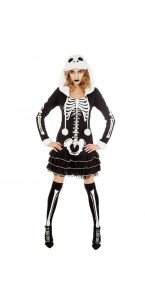 Robe squelette à capuche femme Halloween