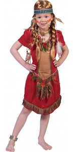 Robe d'indienne Hawk rouge fille