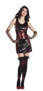 Robe paillettes araignée rouge Halloween M