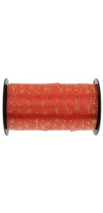 Rouleau de bolduc Joyeuses fêtes rouge 10mm x 50 m