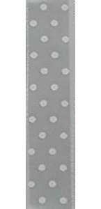 Ruban tissu gris à pois blancs adhésif 1 cm x 2 m