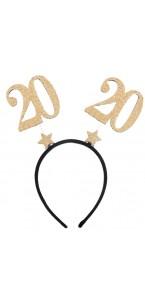 Serre-tête anniversaire 20 ans pailleté or 15 x 16 cm