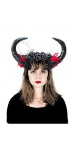 Serre-tête maléfique avec cornes et fleurs noires