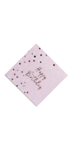 Lot de 16 serviettes anniversaire rose gold