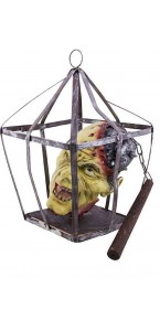 Suspension déco Halloween avec tête dans une cage 45 cm