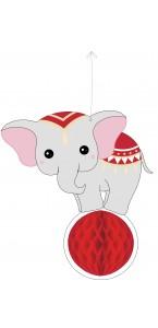 Suspension Eléphant alvéolée Vintage Circus 25 cm