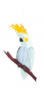 Suspension Perroquet alvéolé blanc 31 cm