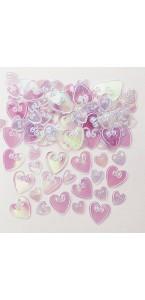 Sachet de Confettis de table Cœur iridescent en relief métallique 14 gr