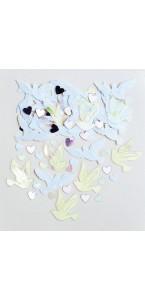 Sachet de Confettis de table Colombe et Cœur métallique14 gr