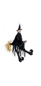 Sorcière animée et sonore sur son balai Halloweeen