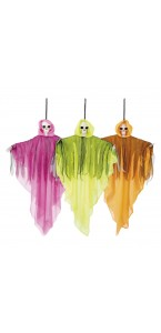 Suspension Fantôme squelette fluo Halloween 50 cm