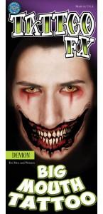 Tatouage sourire de Démon géant Halloween