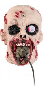 Tête Zombie avec rat lumineux et en mouvement Halloween