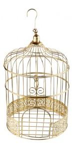 Tirelire Cage Métallisé Or 20 x 31 cm