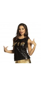 Top sequins VIP noir et or