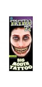 Tatouage bouche de démon temporaire Halloween