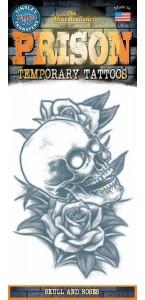 Tatouage têtes de mort et roses temporaire Halloween