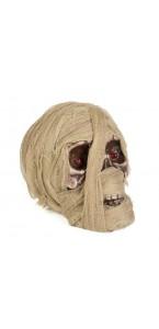 Tête de momie beige Halloween 20 x 15 x 17 cm