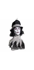 Tête de zombie avec chapeau Halloween 60 x 17 x 15 cm