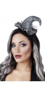 Tiare chapeau de sorcière argenté Halloween