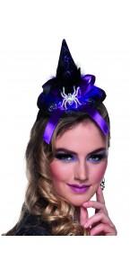 Tiare chapeau de sorcière Spindra violette Halloween